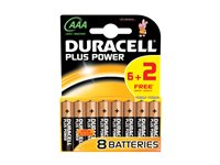 Pile Alcaline Duracell Plus Power 'AAA - LR03' 1,5 V - 8 Pcs