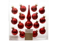 Set Boules De Noël Decoris 'Christmas Decoration' Avec Pointe De Sapin Verre Rouge 30 Mm - 14 Pcs