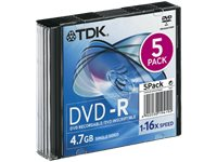 TDK 5PACK DVD-R 4,7 GB 16X
