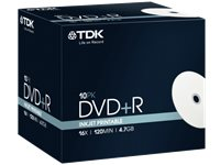 TDK 10 Pack DVD+R 4.7 GB 16 X Printbaar (T19494)