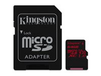 Kingston Micro SDHC Canvas React 64 Go 100 MB/S + Adaptateur SD