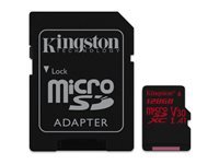 Kingston Micro SDHC Canvas React 128 Go 100 MB/S + Adaptateur SD