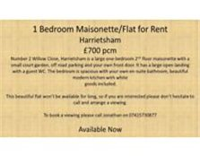 1 Bedroom Flat to Rent in Harrietsham £700pcm