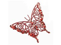 Occasion, Papillon 'Glitter Butterfly' Rouge 11,5 Cm d'occasion