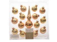 Set Boules De Noël Avec Pointe De Sapin Decoris 'Christmas Decoration' Verre Or 30 Mm - 14 Pcs