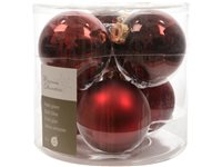 Set Boules De Noël Decoris 'Christmas Decoration' Bordeaux 8 Cm - 6 Pcs